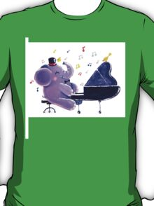 Piano Player - Rondy the Elephant playing the piano T-Shirt