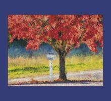Blazing Bloody Red Dogwood By White Mailbox T-Shirt