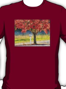 Blazing Bloody Red Dogwood By White Mailbox T-Shirt