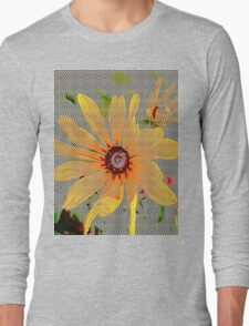 Yellow sunflower design vertical view Long Sleeve T-Shirt