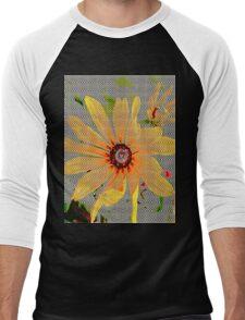 Yellow sunflower design vertical view Men's Baseball ¾ T-Shirt