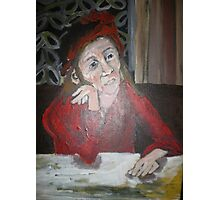 Woman In Red Thinking Photographic Print
