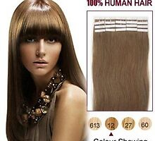Discount 20 Inch 20pcs Golden Brown Tape In Human Hair Extensions In Stock by tiffanywuok1