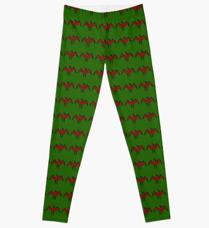 Pterodactyls Reign Green and Cherry Leggings