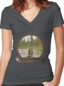Fly Fisherman Women's Fitted V-Neck T-Shirt
