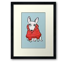 English Bull Terrier Wearing Red Chunky Knit Framed Print