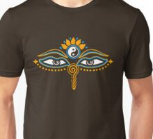Buddha eyes, Yin Yang, symbol wisdom & enlightenment, Unisex T-Shirt