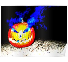 Smoke Bomb Pumpkin - Blue Poster