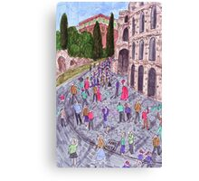 Colorful drawing of Colosseum in Rome Canvas Print