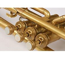 Vintage Brass Trumpet Valves and Tubes Photographic Print