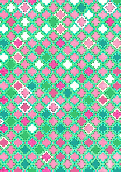 Girly Moroccan Lattice Pattern by micklyn