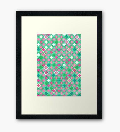 Girly Moroccan Lattice Pattern Framed Print