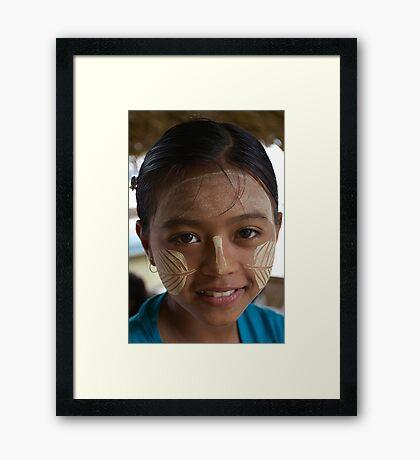 Thanaka girl, Mandalay Framed Print
