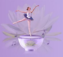 Music Box Ballerina with Water Lily  by Delores Knowles