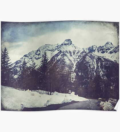 Snow on the mountains Poster