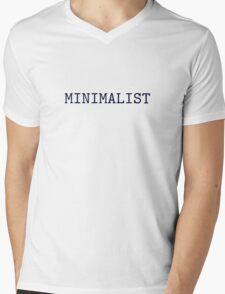 Dark Navy Blue and Silver Minimalist Typewriter Font Mens V-Neck T-Shirt
