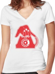 Telephone - Hand Gestures Women's Fitted V-Neck T-Shirt