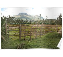 Fence and Corn Field Poster