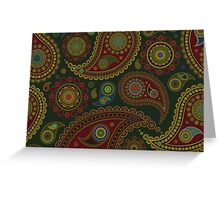 Oriental Persian Paisley, Dots - Blue Green Red  Greeting Card