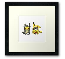 Totoro and Pikachu Onesies Framed Print