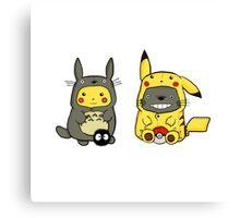 Totoro and Pikachu Onesies Canvas Print
