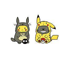 Totoro and Pikachu Onesies Photographic Print