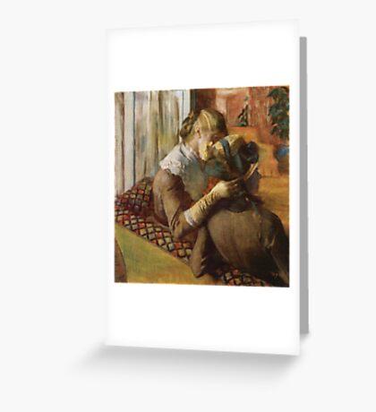 Edgar Degas French Impressionism Oil Painting Women Sitting Greeting Card