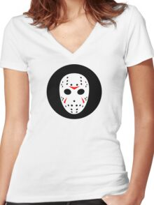Halloween Hockey Mask Jason Friday 13th Ideology Women's Fitted V-Neck T-Shirt
