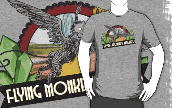 Wizard of Oz Inspired - Flying Monkey Airlines - Flying Monkeys - Airline Parody Design - OZ  by traciv