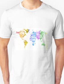 World Map Water Splash Rainbow colors T-Shirt