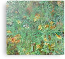 Leaves on grass Canvas Print