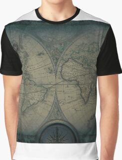 Old Map Of The World Grunge blueprint Graphic T-Shirt