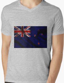Waving Flag of New Zealand on aged canvas Mens V-Neck T-Shirt