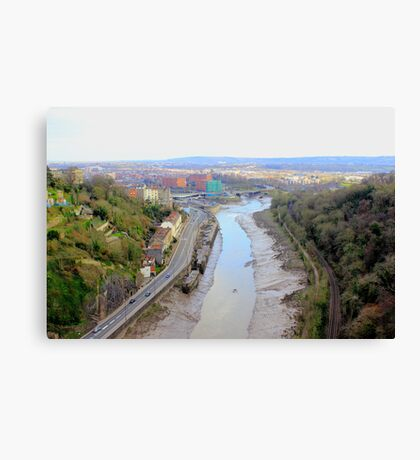 Arial view of Bristol City with River, Rail and road together Canvas Print