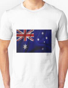 Waving Australian flag on aged canvas T-Shirt