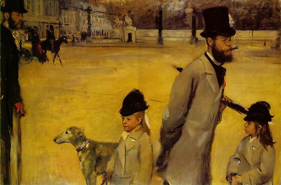 Edgar Degas French Impressionism Oil Painting Childern Dog by jnniepce