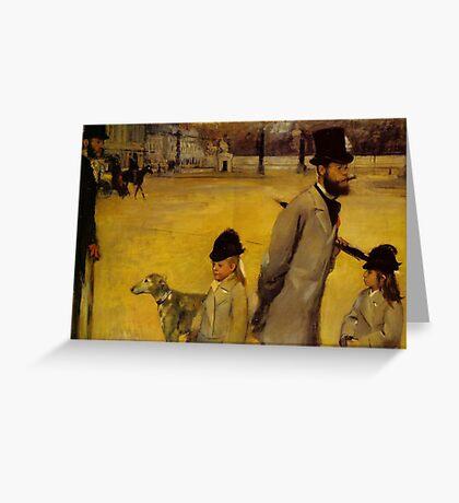Edgar Degas French Impressionism Oil Painting Childern Dog Greeting Card