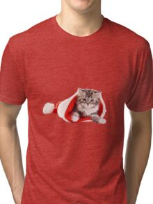 Happy Christmas with kitty! Tri-blend T-Shirt