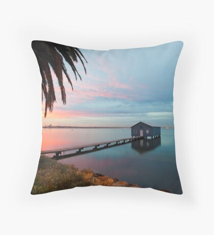Ahh... The Serenity... Crawley Boat Shed at Sunrise Throw Pillow