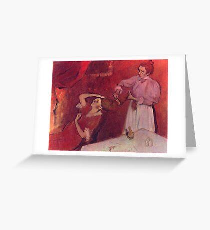 Edgar Degas French Impressionism Oil Painting Brushing Hair Greeting Card