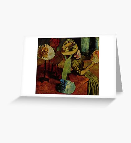 Edgar Degas French Impressionism Oil Painting Womens Hats Greeting Card