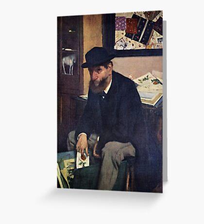 Edgar Degas French Impressionism Oil Painting Man Sitting Greeting Card