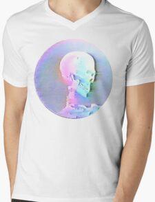 Vaporwave Skull Mens V-Neck T-Shirt