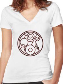 Geronimo Circular Gallifreyan Women's Fitted V-Neck T-Shirt