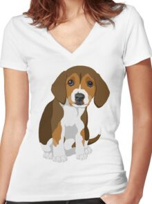 Beagle Pup Women's Fitted V-Neck T-Shirt