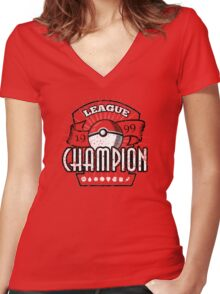 Pokemon League Champion Women's Fitted V-Neck T-Shirt