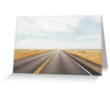 Empty Road in Dry Grassland Greeting Card