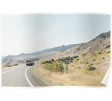 Camper Van Driving Through Dry Landscape Poster