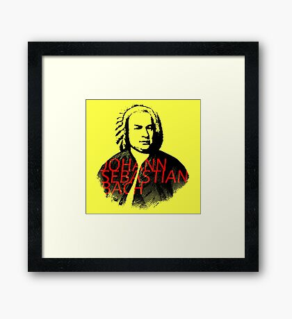 Johann Sebastian Bach vibrant portrait and text Framed Print