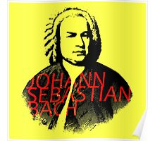 Johann Sebastian Bach vibrant portrait and text Poster